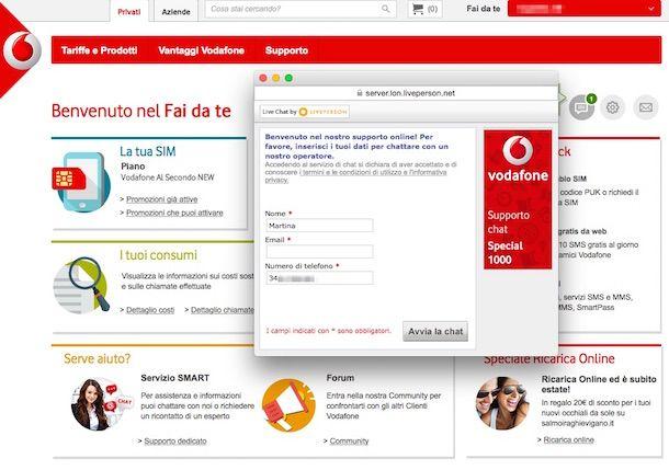 Screenshot che mostra come eliminare segreteria Vodafone tramite chat