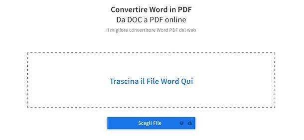 Screenshot che mostra come convertire DOC in PDF con Word in PDF