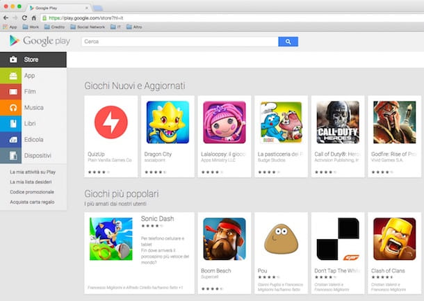 Screenshot del Google Play Store da browser Web