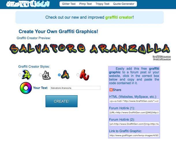 Screenshot del servizio online GraffitiGen