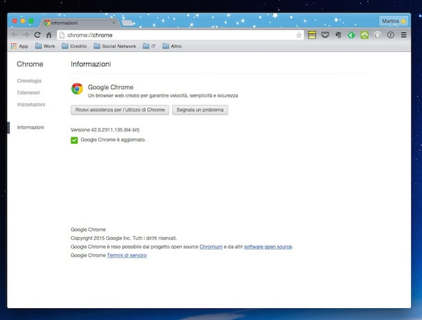 Screenshot che mostra come aggiornare Google Chrome su Mac