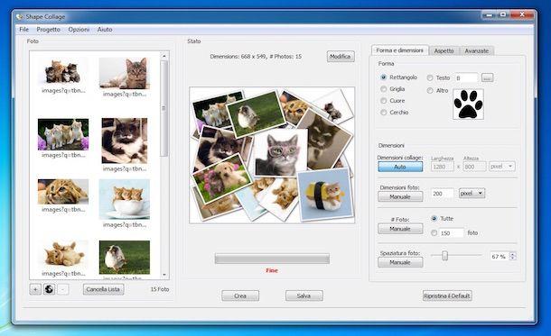 Screenshot del software Shape Collage