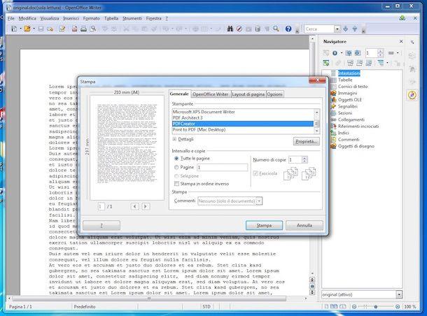 Screenshot che mostra come usare PDFCreator