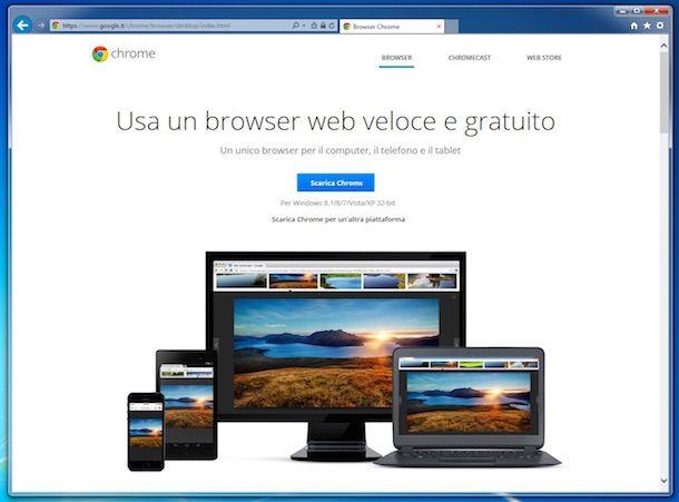 Screenshot che mostra come scaricare Chrome su Windows