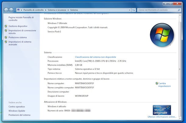 Screenshot che mostra come attivare Windows 7 Ultimate