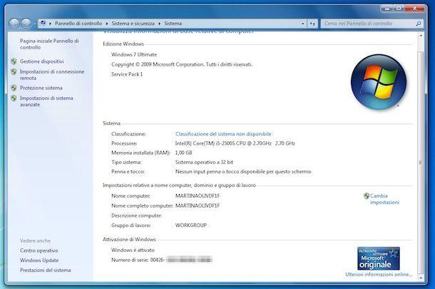 Screenshot che mostra come attivare Windows 7 Ultimate
