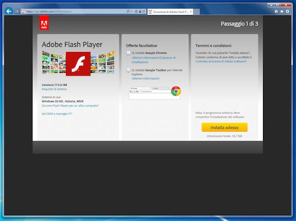 Screenshot che mostra come installare Flash Player su Internet Explorer