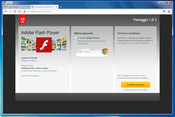 Screenshot che mostra come installare Flash Player su Opera