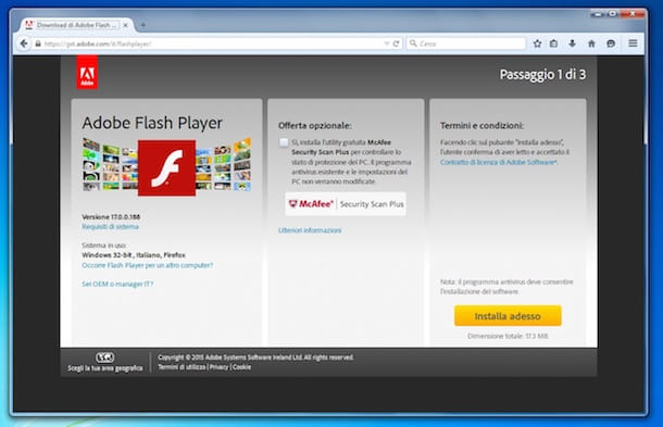 Screenshot che mostra come installare Flash Player su Mozilla Firefox