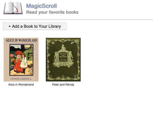 Screenshot del servizio web MagicScroll