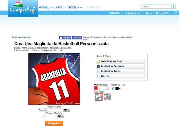 Screenshot del servizio online Image Chef