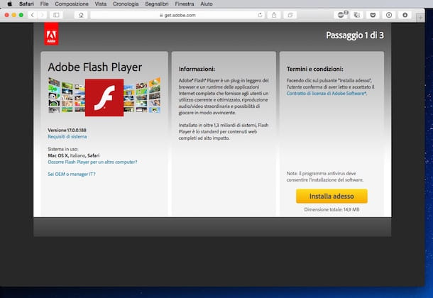 Screenshot che mostra come installare Flash Player su Safari