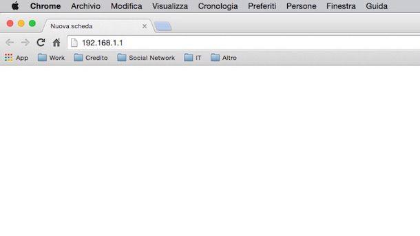 Screenshot che mostra come configurare modem