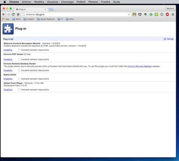 Screenshot che mostra come installare Flash Player su Google Chrome per Mac