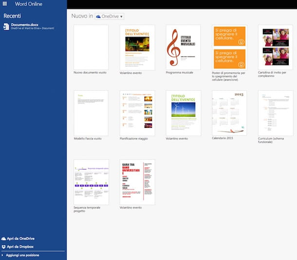 Screenshot che mostra come aprire file DOCX con Word Online