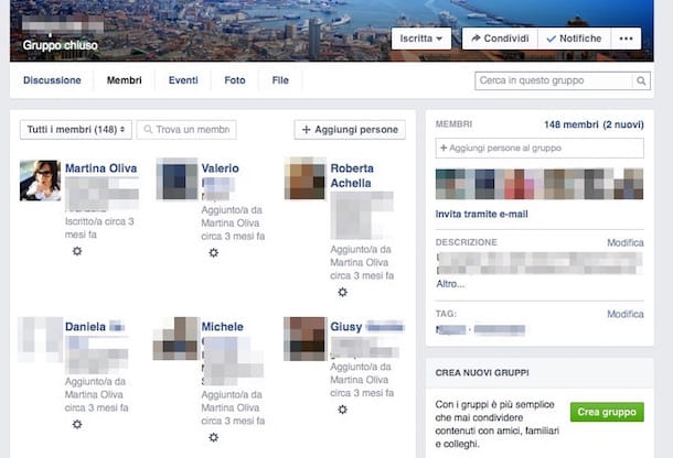Screenshot che mostra come eliminare gruppo Facebook
