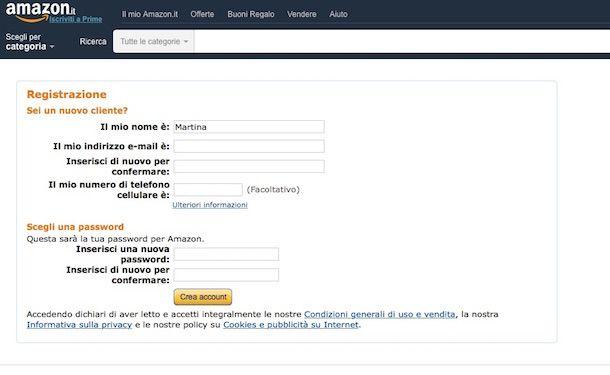Screenshot che mostra come comprare su Amazon Italia