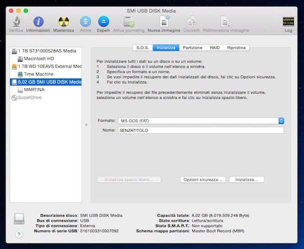 Screenshot che mostra come formattare USB Mac