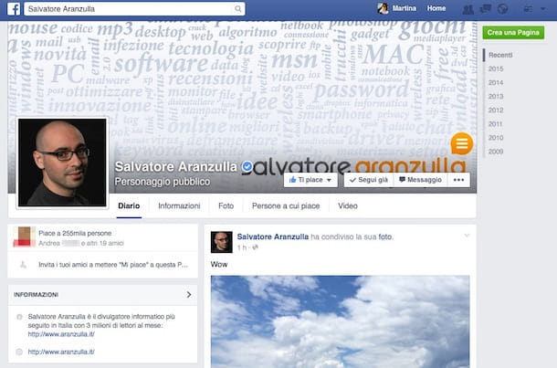 Screenshot che mostra come usare Facebook