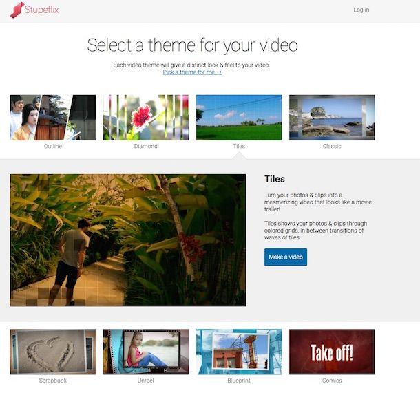 Screenshot che mostra come fare un video con foto e musica usando Stupeflix