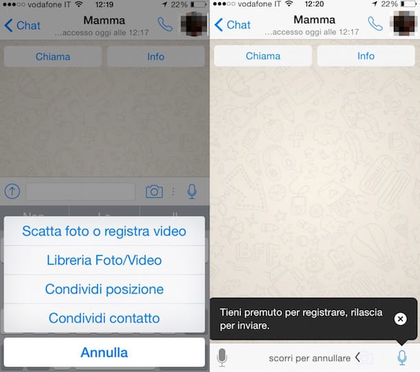 Screenshot che mostra come si usa WhatsApp