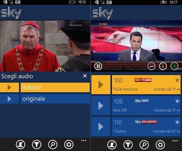 Screenshot che mostra come scaricare Sky Go su smartphone Windows Phone