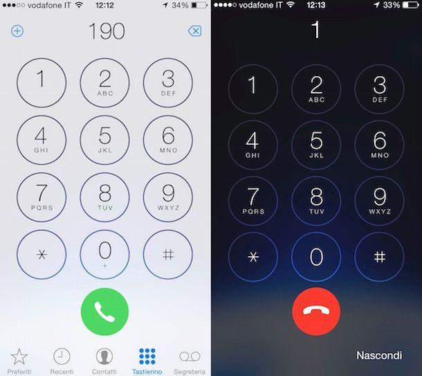 Screenshot che mostra come chiamare Vodafone