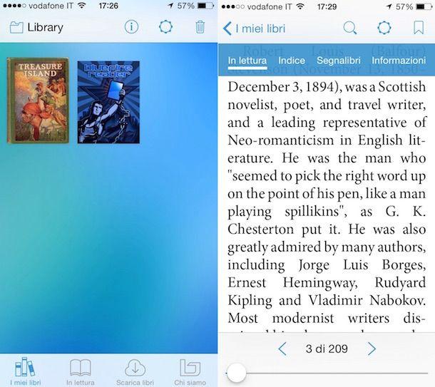 Screenshot che mostra l'app Bluefire Reader