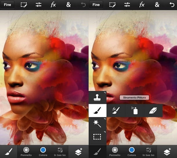 Screenshot che mostra Photoshop Touch su iPhone