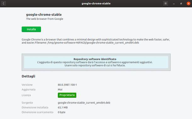 Installazione Chrome su Ubuntu