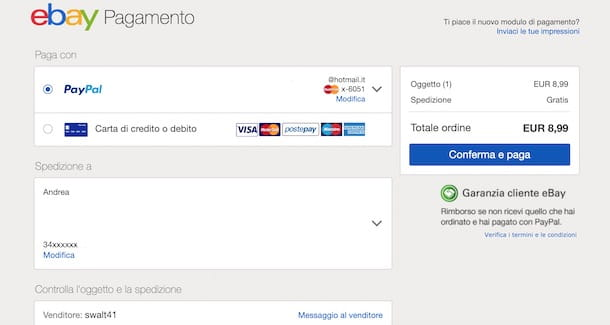 Pagare su eBay con PayPal