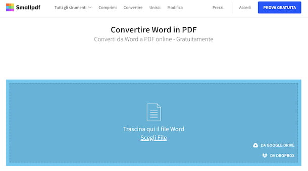SmallPDF conversione da Word a PDF