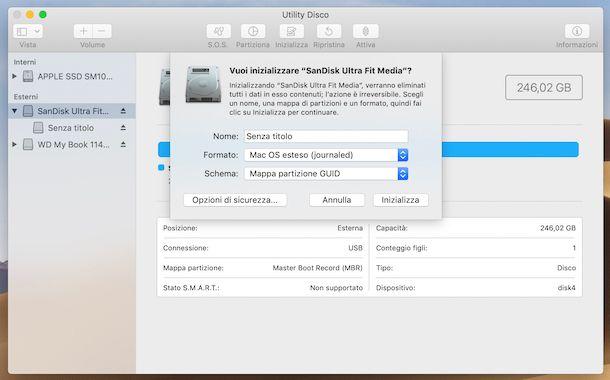 Formattazione chiavetta USB da Utility Disco su macOS