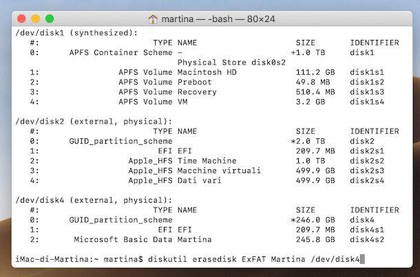 Formattazione chiavetta USB da Terminale su macOS