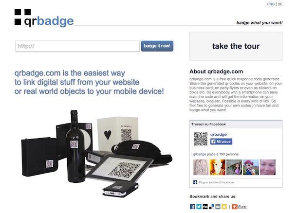 Screenshot del servizio web QRBadge