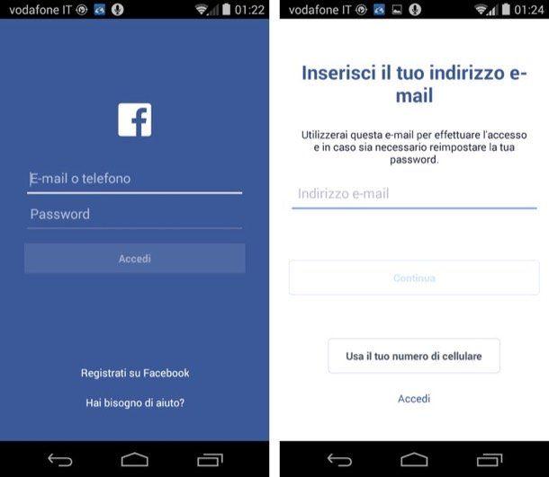 Screenshot che mostra come registrarsi su Facebook