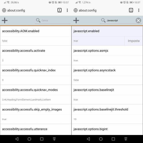 Abilitare JavaScript su Firefox da Android