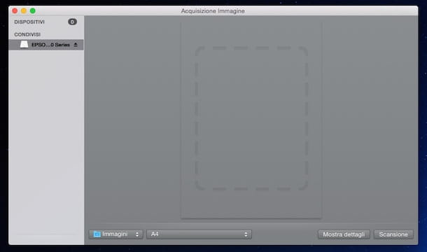 Screenshot che mostra come scannerizzare su Mac
