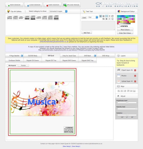 Screenshot che mostra come creare copertine CD