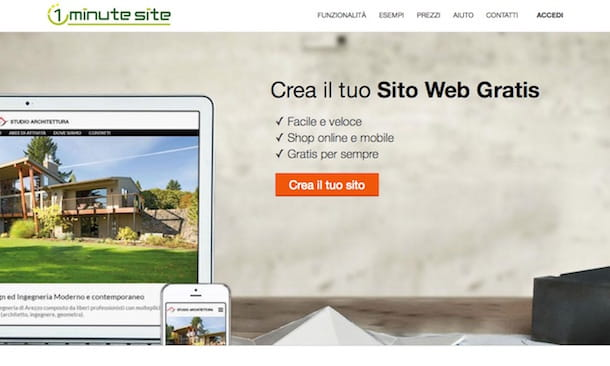 Screenshot che mostra come fare un sito Web da zero con 1 Minute Site