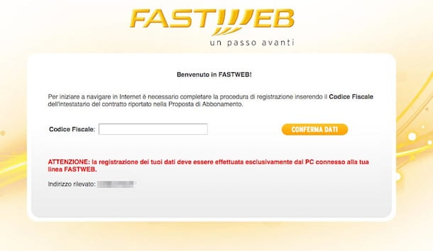 Screenshot che mostra come configurare router Fastweb