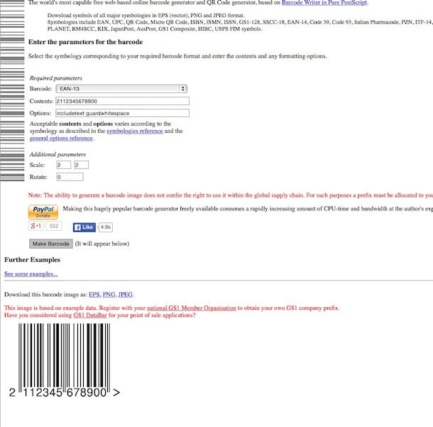 Screenshot che mostra come creare codice a barre