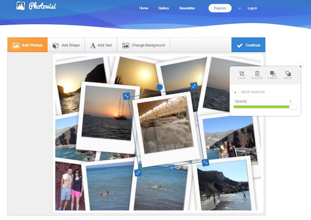 Screenshot che mostra come creare collage di foto con Photovisi