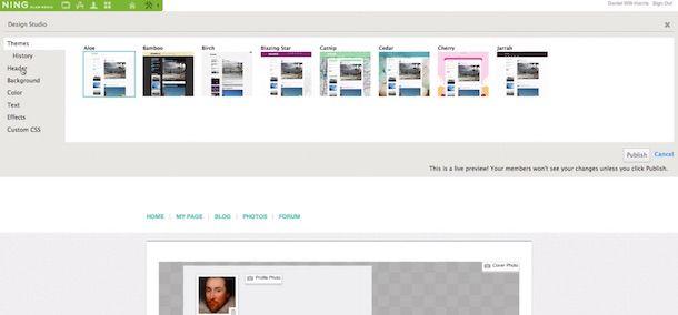 Screenshot che mostra come creare un social network