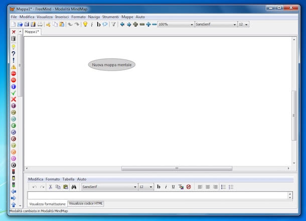 Screenshot del programma FreeMind per fare mappe concettuali
