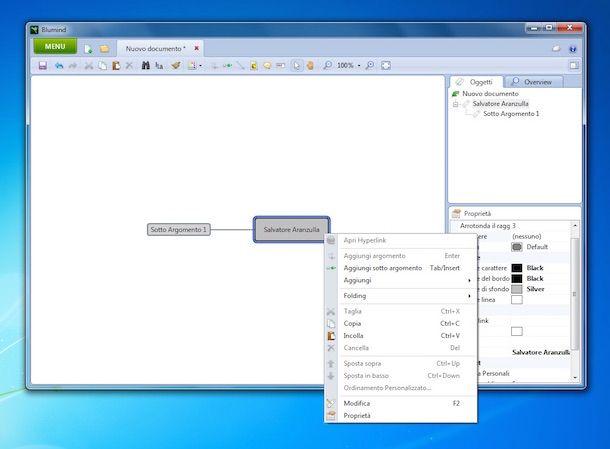 Screenshot del programma Blumind per creare mappe concettuali