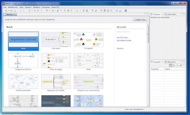 Screenshot del programma Xmind pere creare mappe concettuali