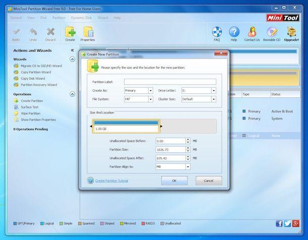 Screenshot che mostra come partizionare SD