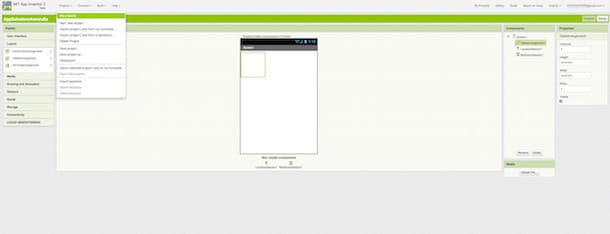 Screenshot che mostra come programmare app Android