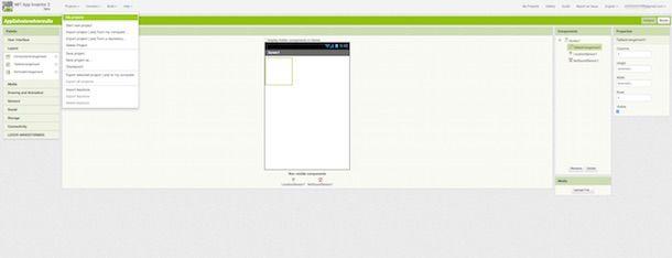 Screenshot che mostra come programmare app Android